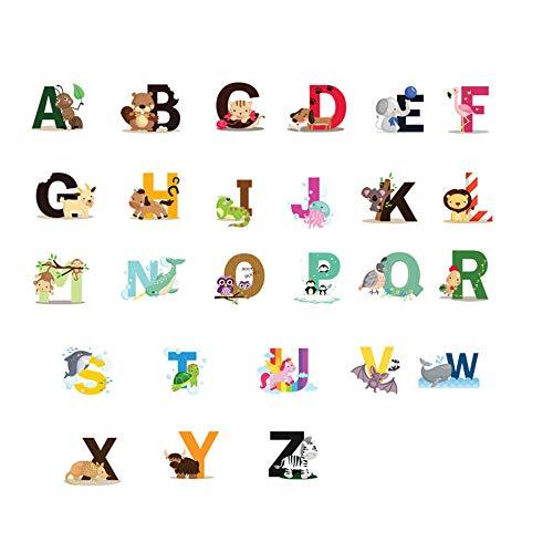 Alfabeto Pegatinas, Pegatinas de pared Autoadhesivas Fáciles Pegar con Letras de Animales ABC para Dormitorio de Niños, Pegatinas de Pared de Alfabeto de Colores Pegatinas para Decoración de Guardería