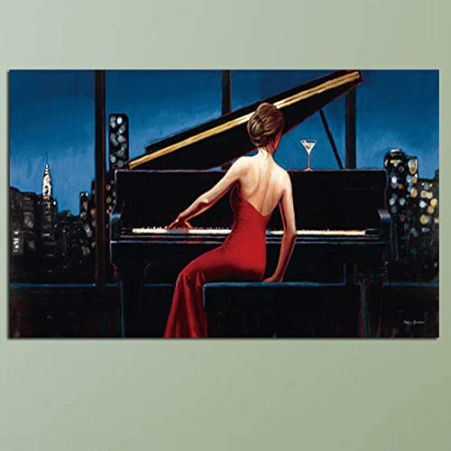 SQSHBBC Hd Print Musiker Wandkunst Gemälde Sexy Girl Playing Piano Poster Und Drucke Kunst Bilder Druck Auf Leinwand Für Wohnzimmer A 30x40 cm ungerahmt