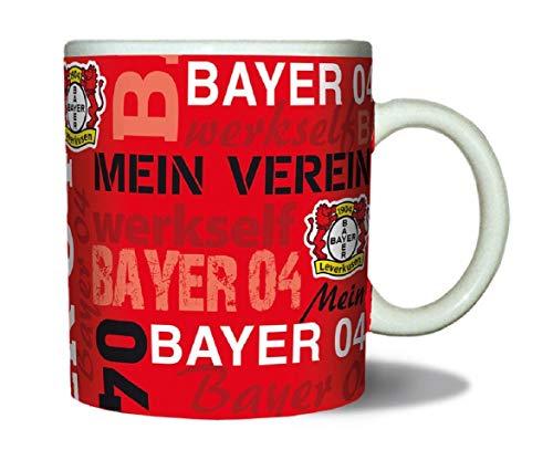 Bayer 04 Leverkusen Tasse - Schriftzüge - Kaffeetasse rot Kaffeepott, Mug - Plus Lesezeichen Wir lieben Fußball