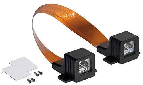 RJ45 Ethernet LAN Tür-/Fensterdurchführung, extrem flach - beidseitig RJ45-Buchse - Gesamtlänge inkl. Stecker 30 cm, Flexible Länge 22,5 cm