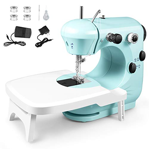 Sewing Machine, Portable Multifunctional Electric Sewing Machines for Beginners, Adjustable 2-Speed Double Thread Sewing Machine with Extension table, Foot Pedal, Night Lights, Perfect for Home Travel(green)
