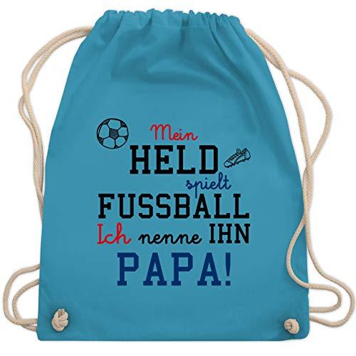 Shirtracer Sprüche Kind - Mein Held spielt Fußball - Unisize - Hellblau - fußball-sprüche - WM110 - Turnbeutel und Stoffbeutel aus Bio-Baumwolle