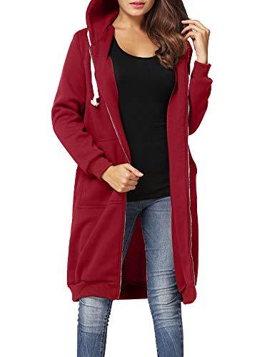 Romacci Damen Kapuzenpullover Lange Kapuzenpullis Beiläufiger Taschen Hoodie Pullover, Burgund, L