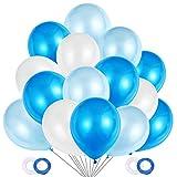 JOJOR 100 Pièces Ballon Bleu et Blanc, Ballon Gonflable Bleu, Ballon Helium pour Garcon Anniversaire Happy Birthday Bapteme Communion, Mariage Deco de Fête