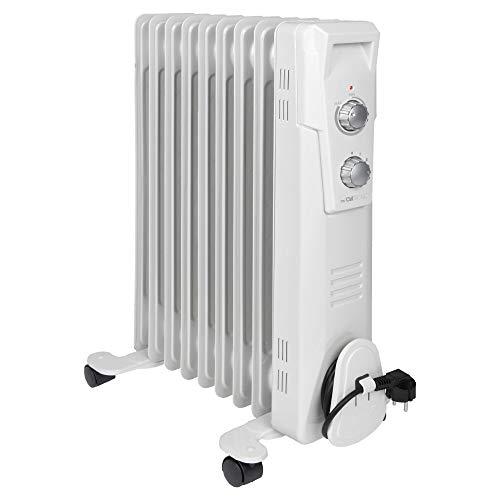 Clatronic Chauffage soufflant - Chauffage Electrique - Radiateur Soufflant RA 3736 - Radiateur à Bain d'Huile - roulettes - 3 Niveaux de Chauffe - Thermostat - Arret Automatique - 2000 Watts Blanc