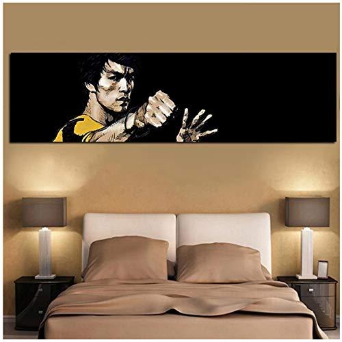 un known Cuadros Decoracion Salon Impresión Digital Famosa Pintura al óleo de Bruce Lee Impresión HD en Lienzo Arte Pop de Pared para Sala de Estar Sofá Cuadros Decoración 23.6x62.9in (60x160cm
