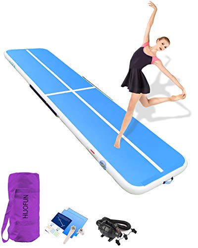 HIJOFUN Premium Air Track 10ftx3.3ftx4in Airtrack Gymnastics Tumbling Mat Inflatable Tumble Track with Electric Air Pump for Home Use/Gym/Yoga/Training/Cheerleading/Outdoor/Beach/Park Blue