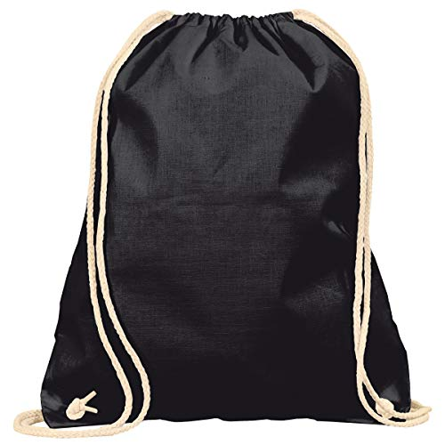 MyShirt Baumwoll Turnbeutel 38 x 46cm unbedruckt mit Kordelzug - 19 Farben - Jutebeutel Oeko-TEX® geprüft Gym Sack zum bemalen, Farbe:schwarz
