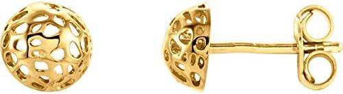 14K Yellow Gold Half Ball Textured Earrings Half Ball Textured Earrings