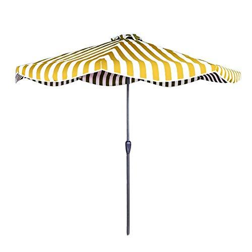 Parasol Sombrilla de Mesa de jardín de Rayas de Moda de 9 pies / 2,7 m con manivela para Exteriores, para sombrillas de Patio/Playa/Piscina, UV50 +, Lluvia Anti-luz, 8 Costillas, Hierro