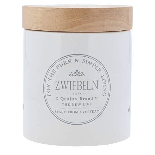 KHG Zwiebel Vorratsdose aus weißer Keramik mit Holz-Deckel