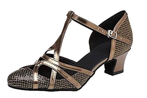 Zapatos de baile para mujer con 2 talones en T y suela suave con purpurina, tango latino, cha-cha, salón de baile, altura de tacón personalizado, color Marrón, talla 39 EU