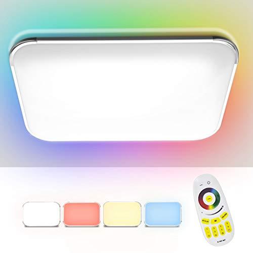 Hengda 96W RGB LED Deckenleuchte, Dimmbar LED Deckenlampe inkl. Fernbedienung, für Wohnzimmer, Schlafzimmer, Büro, Esszimmer, Flimmerfrei und Blendfrei, Schutzart IP44