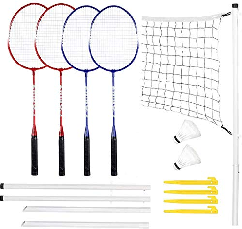 Racquet Sports Sets Badminton Complete Sets,Badminton Sets,Portable Outdoor Classic Racquet Sports Badminton Combo Set Badminton Net System,Fun Lawn or Beach Game Sets for The Whole Family