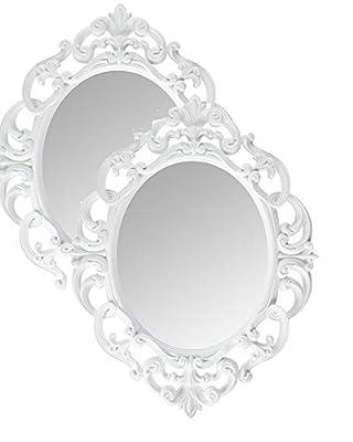 Kole White Oval Vintage Wall Mirror