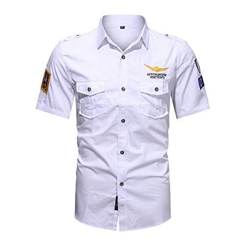 LSSM Camisa Bordada Casual De La Camisa De Manga Corta De Las Herramientas De Los Hombres del Verano Oxford De...