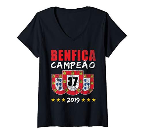 Damen BENFICA CAMPEAO 37 Portugal Reconquista Geschenk T-Shirt mit V-Ausschnitt