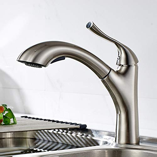 Z.L.FFLZ Grifos de tasina de baño Grifos de baño y níquel Cepillado del Fregadero de Cocina extraíble Grifo Mezclador rotatorio Caliente y Depósito de Agua fría