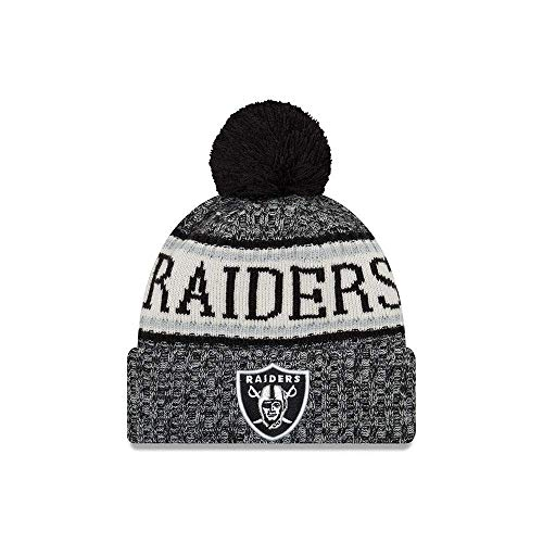 New Era ONF18 Sport Knit Bommelmütze Oakland Raiders Schwarz, Size:ONE Size