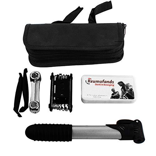 AimdonR Mini Bike Repair Toolkit met pomp – bandenreparatieset – mini-fietsreparatieset met pomp, 16 in 1 Bicycle Essential Multi Tools