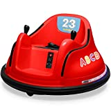 Kidzone 12V 2 Speed Bluetooth Music Kids Toy Electric Ride On Bumper Car 360 Spin Battle Vehicle with Remote Control, DIY Race# 00-99 and Alphabet Stickers, ASTM-Certified, Red