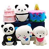 YOAUSHY 6 Pack Jumbo Squishies Slow Rising Toys Soft Kawaii Unicorn Cake Panda Dog Cat Stocking Stuffer,Pinata Filler,Treasure Box Classroom Birthday Gifts for Kids