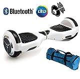 UNITED TRADE Hoverboard Elettrico Monopattino Elettrico Autobilanciato Overboard, Balance Scooter Skateboard con Luci LED & Bluetooth, Due Ruote 6.5' Bianco UL 2272, Confezione Regalo, Omaggio Borsa