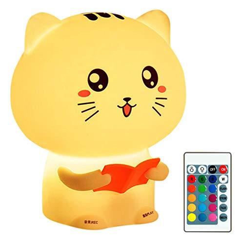 YCEOT LED Veilleuse Mignon Kitty Animal Silicone Doux Bande Dessinée Pépinière Lampe Chambre Bébé Nuit Lampe Enfants d'anniversaire Cadeau Jouet