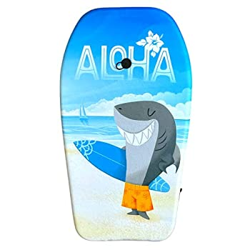 Nantucket Surf 33  Body Board - Lightweight with EPS Core & Wrist Leash Body Boards for Beach Beach Accessories for Adults & Kids Outdoor Toys  Aloha Shark