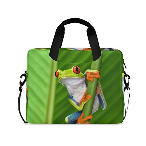 RELEESSS Laptop Sleeve Frog Laptop Handbag Briefcase Messenger Carrying Case Bag Adjustable Shoulder Strap for 13-16 Inch