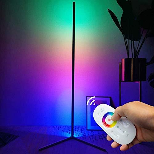 JAKROO Corner Floor Lamp, LED Floor Lamp Dimmable with Remote Control - Floor Lamp for Living Room, Bedroom,Schwarz