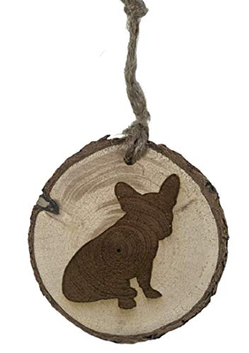 FRENCH BULLDOG - Frenchie wood burned Christmas Ornament