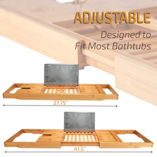 Premium Bamboo Bathtub Tray Caddy - Wood Bath Tray Expandable with Book and Wine Holder Idea