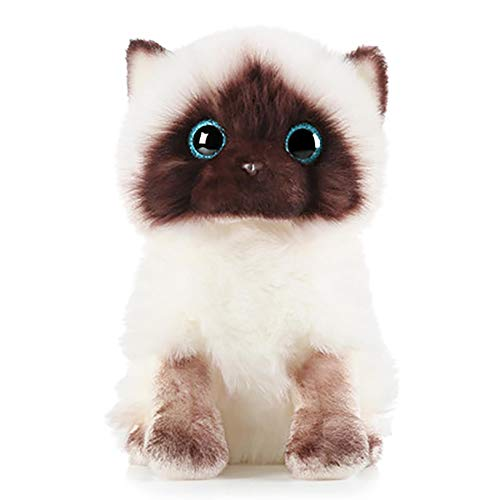Siamese Cat Plush Siamese Cat Doll Stuffed Animal Toys Lifelike Siamese Cat Pillow Bedroom Decoration Sequins Eyes Siamese Cat 26cm/10.23inch