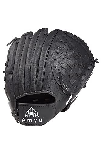 Amyu 野球 グローブ グラブ 子供 大人 軟式 一般 オールラウンド キャッチボール 練習用 初心者用 右利き 合皮 3サイズ (ブラック, 11.5 インチ)