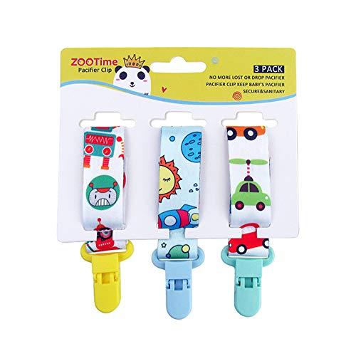 LITU Un Grupo con 3 Piezas de Cadenas para Chupetes Chupetero Cadena de Chupete de de Dibujos Animados de Bebé Robot + Nave Espacial + Coche 28.5cm* 2.5cm