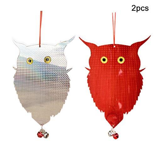 Phayee 2 Stück Owl Scarecrow Reflective, Vogelabwehr als Eulenattrappe mit Glöckchen, Vogelscheuche, Eule Vogelschreck Vogelabwehr,für Pflanzen und Garten
