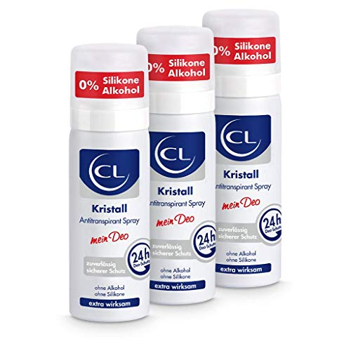 CL Desodorante piedra de alumbre natural antitranspirante 3x 50 ml - Ofrece una protección de 24 horas - Especial para pieles sensibles - Cristal de aluminio para hombres y mujeres