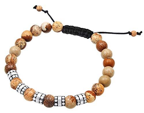 Kuzzoi Pulsera de Buda para hombre con cuentas de ágata marrón y colgante de plata de ley 925, longitud 19 cm, ajustable, pulsera de yoga, pulsera de energía 0201740719_19