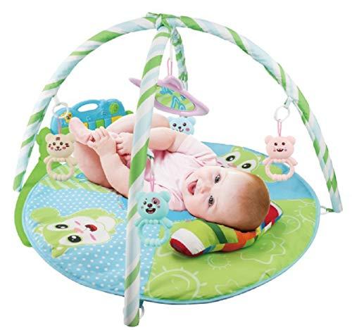 Krabbeldecke mit Spielbogen, Spieldecke Baby mit Bogen, Spielbogen mit Musik und Licht,4 Klaviertasten,Spiel & Spaß ab dem Geburt,Play mat for babies (Grün)