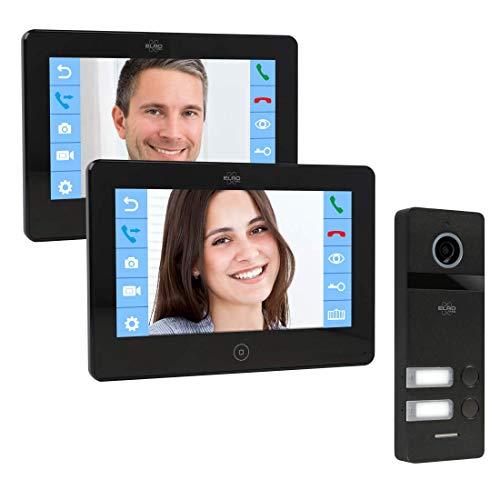 ELRO PRO PV40 Full HD Video-Türsprechanlage mit 2 Farbbildschirmen-Mit Voicemail-13 Klingeltöne-Modernes Design, 2 Familien