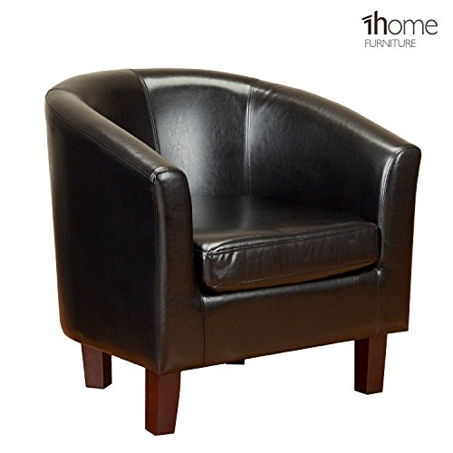 1home Bonded Leather Tub Chair Armchairs for Dining Living Room Office Reception Club (Black)