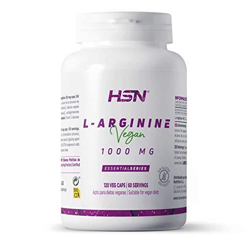 Arginine 1000mg de HSN : Oxyde Nitrique, Améliorant des Performances Sportives, Vasodilatateur, Améliorant Sexuel : Végétalien, sans Gluten, sans Lactose, 120 gélules végétales