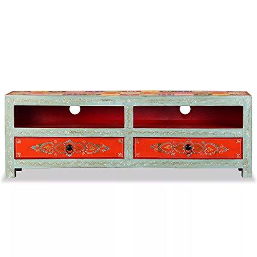 Festnight Mueble para Television Con 2 Cajones y 1 Compartimento,Madera de Mango Maciza Pintada a Mano,120 x 30 x 40 cm