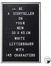 Relaxdays Letterbord met lijst, 145 letters, cijfers & speciale tekens, XL groefbord om in te steken, 30 x 45 cm, zilver