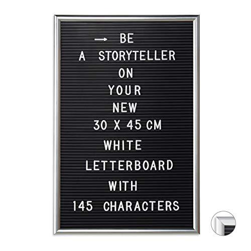 Relaxdays Letterboard mit Rahmen, 145 Buchstaben, Zahlen & Sonderzeichen, XL Rillentafel zum Stecken, 30 x 45 cm, silber