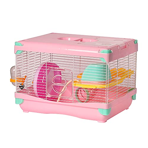Jaula para Hámster Jaula para Hámster 36*25*27cm jaulas Hámster para pequeños roedores con Tubos (Rosa)