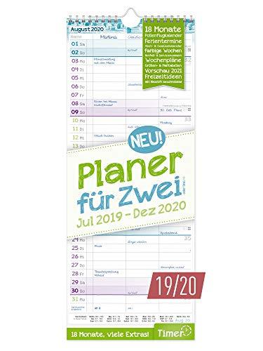 Planer für Zwei 2019/2020 Wandkalender mit 3 Spalten | Paarkalender für 18 Monate: Juli 2019 - Dezember 2020 | Wandplaner Maße: 17 x 42 cm, Chäff-Timer inkl. Ferientermine + viele Zusatzinfos