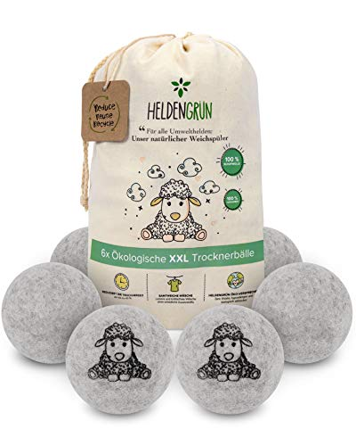 Heldengrün® Öko Trocknerbälle - 6er Set - [HOHE FILZDICHTE] - Natürlicher Weichspüler - Nachhaltige Produkte: 100% neuseeländische Schafwolle - Zero Waste Trocknerbälle für Wäschetrockner