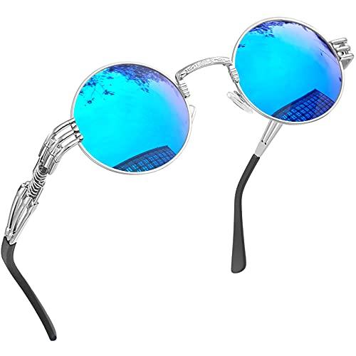 Joopin Redondas Gafas de sol Polarizadas Retro Vintage John Lennon Círculo Metálico Hippie Steampunk para Hombres y Mujeres UV400 Punk azul